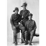 108192PD: L-R: Joseph David Lown, unknown (standing) and David Edward Barrow of 10th Light Horse Regiment, 1915