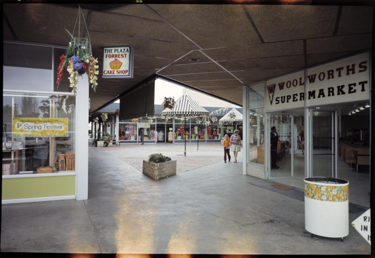 325037PD: Forrest Cake Shop and interior of Bunbury Plaza, 1969