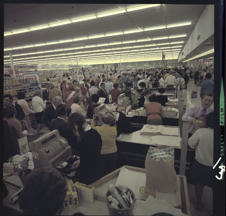 326744PD: Inside Woolworths at the opening of Dianella Plaza Shopping Centre Stage 2, 25 August 1971 (Click to Start Zoom)