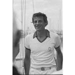 296497PD: Jon Sanders 31 October 1982 after his double circumnavigation of the world on Perie Banou
