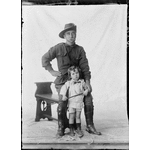 Studio portrait of Private William McCann, 10th Light Horse and an unknown child [picture]