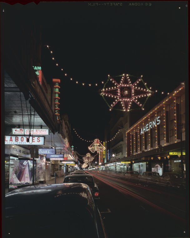 340113pd Christmas Lights In Hay Street Perth Ca 1966