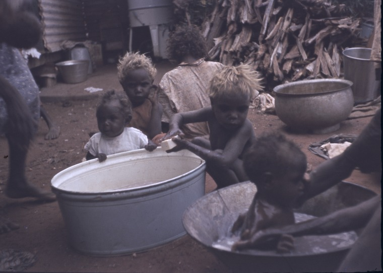 231510PD: Bath day, Warburton Mission, 1958-1961 (Click to Start Zoom)