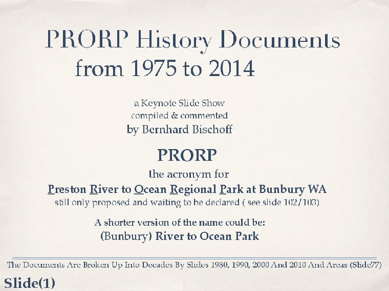 PRORP history documents from 1975 to 2014
