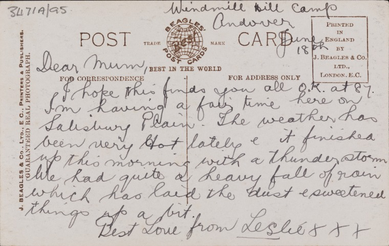 ACC 3471A/95: Postcard of London sent from Andover, 18 June 1917 (Click to Start Zoom)