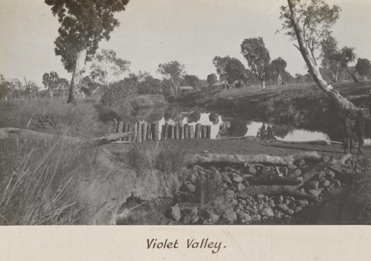 "Creek Dam at Violet Valley - WA Government Aboriginal Reserve (Feeding Station) - Photographed circa 1920 by Auber Octavius ""AO"" Neville, Chief Protector of Aborigines - Courtesy of SLWA"