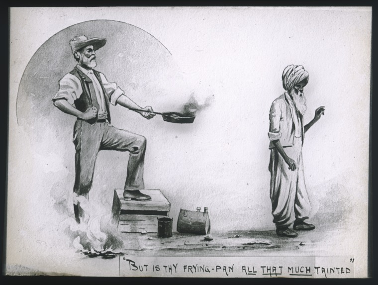 090017PD: Lantern slide of a drawing of a European man offering an Afghani a frying-pan, probably after it was used in a non-halal manner, ca. 1896. (Click to Start Zoom)