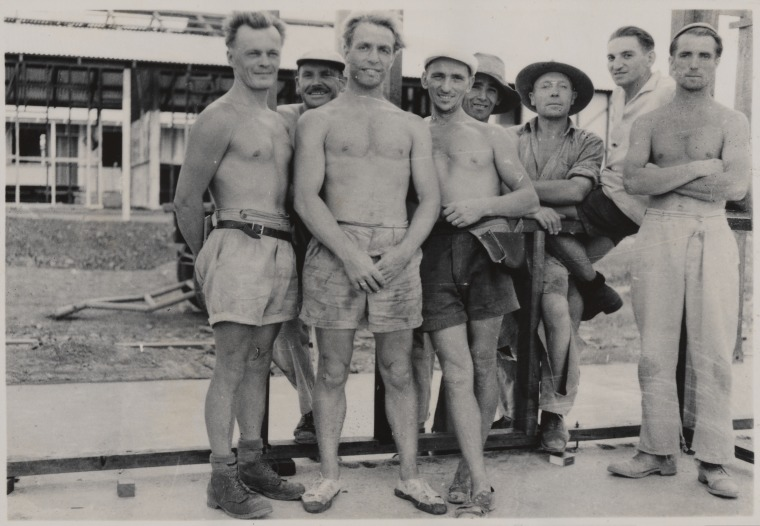 BA2934/2: Andrew Mirkva (far left) with a group of labourers at Wittenoom, 1951 (Click to Start Zoom)